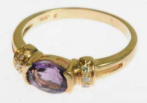 LADIES 14K YELLOW GOLD DIAMOND AMETHYST ESTATE RING 152168