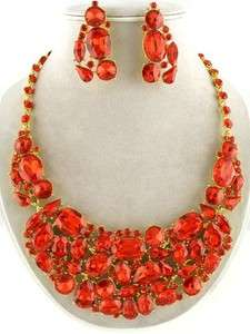 Red Rhinestone Jeweled Bib Statement Necklace and Earrings Set