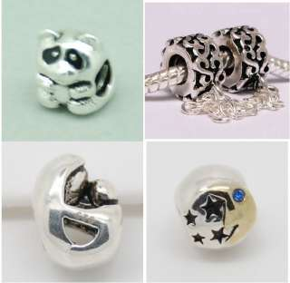 925 Silver European Bead CHARM SS SAFETY CHAIN, PANDA, MOM N BABY