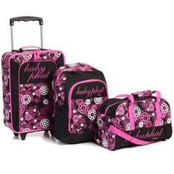 Baby Phat Pink Floral 3 piece Childrens Luggage Set