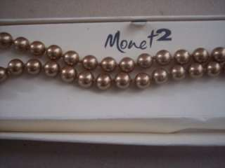 JC Penny Vintage Monet2 Monet 2 Gold Tone Strand Bead Necklace