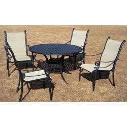 Lake View Cast Aluminum/ Sling Five piece Patio Furniture Set