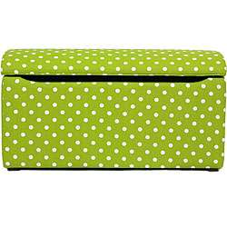 Nola Lime Green Polka Dot Storage Ottoman