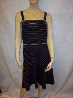 Ann Taylor Loft Black White Striped Tank Day Dress 14