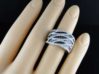 LADIES WOMENS WHITE GOLD BLACK ROUND CUT PAVE XL BAND DIAMOND RING 1