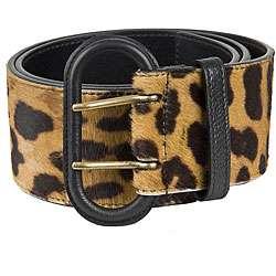 YSL Womens Leopard Print Calf Hair Wide Belt