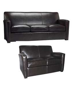 Fudge Brown Leather Sofa & Loveseat