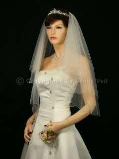 Ivory Elbow Scalloped Silver AB Beaded Edge Bridal Wedding Veil