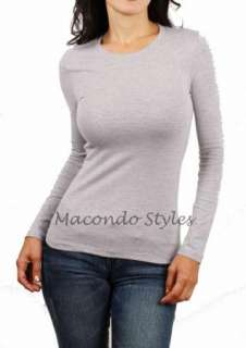 Casual Basic Plain Crew Round Scoop Neck Long Sleeves T Shirt Shirt