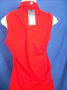 RALPH LAUREN GOLF RED PINK POLO SLEEVELESS SHIRT WOMEN $75.00