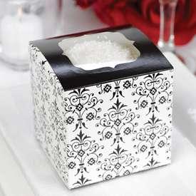 Set of 48 Black White Damask Cupcake Boxes Favor Boxes