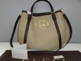NWT AUTHENTIC GUCCI CONVERTIBLE CANVAS LARGE HOBO BAG