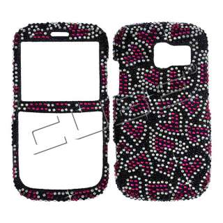 P7040 Diamond Bling Case Cover  Reddish Pink Hearts Black 022
