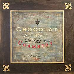Chambery Chocolat Brown with Fleur de lis Sign Canvas Art