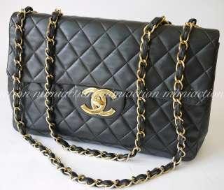 Auth Chanel black lamb quilted XL jumbo cc logo handbag shoulder bag