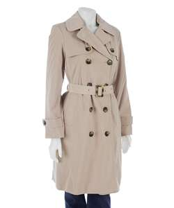 London Fog Womens 3/4 length Trench Coat with Plaid Lining