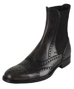 Dolce & Gabbana Mens Black Leather Perforated Chelsea Boots