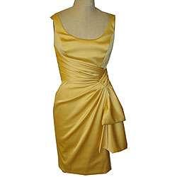 Maggy London Womens Yellow Stretch Satin Dress