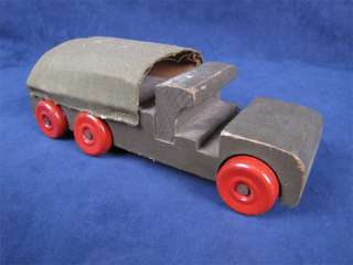 Vintage Green Wood Army Truck Red Tin Wheels