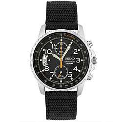 Seiko Mens Chronograph Black Fabric Strap Watch