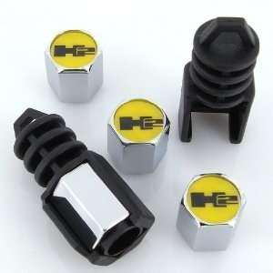 Hummer H2 Yellow Logo Anti Theft Tire Valve Caps Automotive