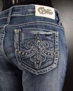 NWT Womens CELLO Boot Cut Jeans EMBOSSED FLEURS & CRYSTALS