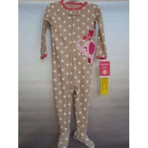 Girls One piece Footed Cotton Sleeper Beige Polka Dot (18 Month) Baby