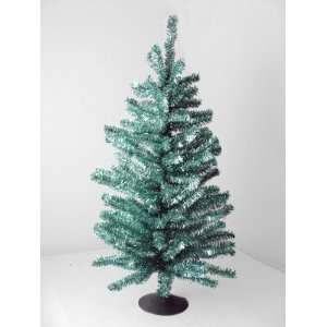 18 Sparkling Blue and Silver Retro Tinsel Table Top Christmas Tree