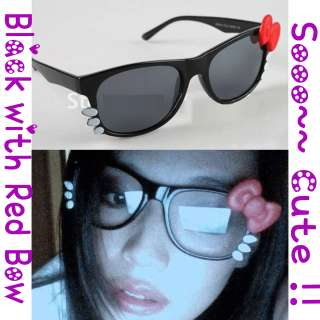 Hello Kitty Sunglasses Black Lens w/Red Bow,Beard Clear Glasses Nerd
