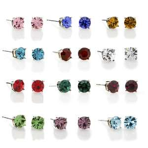 Sterling Silver Round Crystal Birthstone Studs Earrings