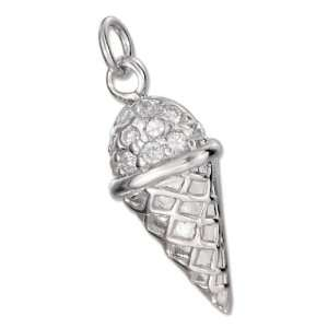 Sterling Silver Pave Cubic Zirconia Ice Cream Charm Jewelry