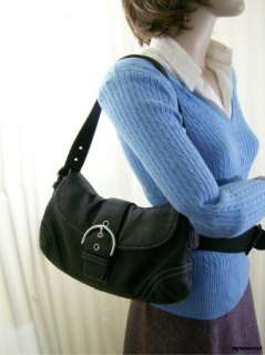Black COACH Medium Soho Flap Bag Purse Handbag Leather Shoulder