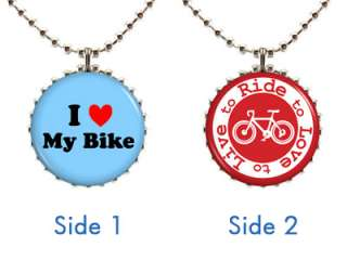 NECKLACE Style #1 Bike Cyclist Lover Rider Eco Green Messenger Pendant