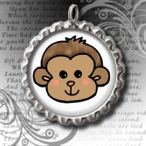 MONKEY FACE BOTTLE CAP NECKLACE With 24 IN Ball Chain