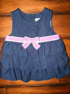 CAPE COD CUTIE Navy Tiered Ruffle Swing Top   Choose Your Size