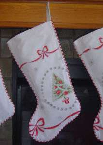 Christmas Stocking Vintage Tablecloth Silver Red Green