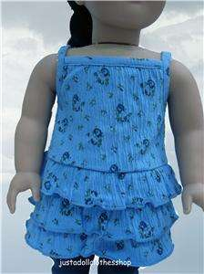 Doll Clothes Blue Floral Ruffled Top fits American Girl & 18 Doll