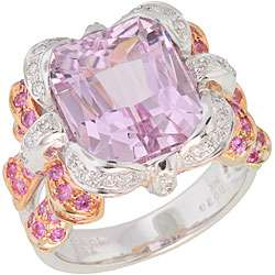 Michael Valitutti 14k Gold 1/5ct TDW Diamond and Kunzite Ring