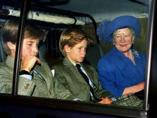 Queen Mother with Prince William and Harry leaving Crathie in car