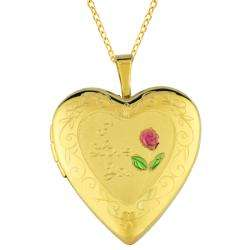 14k Gold and Sterling Silver I Love You Heart Locket Necklace