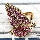 Pink Crystal Beetle Bead Adjustable Fashion Finger Ring