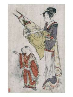 Woman Holding Bow and Arrows Standing before a Young Boy, Japanese