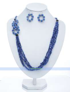 Strds 32 Lapis & Crystal & Pearl Necklace Earrings