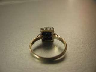 Gold & Platinum Square Cut Blue Sapphire & 12 Diamond Ring