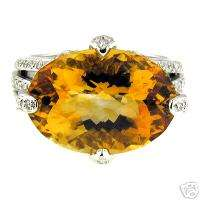 14.00 CT WHITE GOLD CITRINE & DIAMOND RING 14 KT
