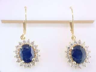 Sapphire Diamond 5.50ct 14K Yellow Gold Leverback Earrings Jewelry