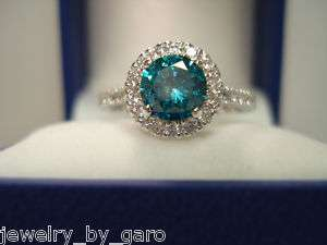 18K WG BLUE & WHITE DIAMONDS COCKTAIL RING SI2 1.55ct