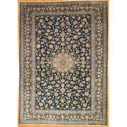 Persian Hand knotted Isfahan Navy Wool Rug (82 x 122)