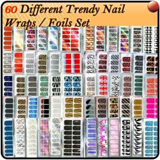 60 X Different Nail Art Trendy Nail Wraps / Foils Sticker Full Cover