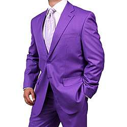 Ferreccis Mens Purple 2 button Suit  Overstock